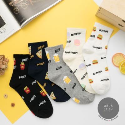阿華有事嗎  韓國襪子 滿版英文食物中筒襪  韓妞必備 正韓百搭純棉襪