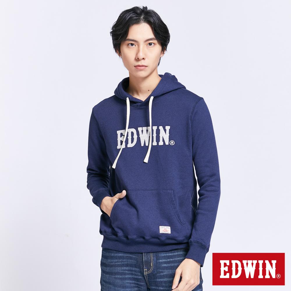 EDWIN 職人手作 繡花LOGO連帽T恤-男-丈青