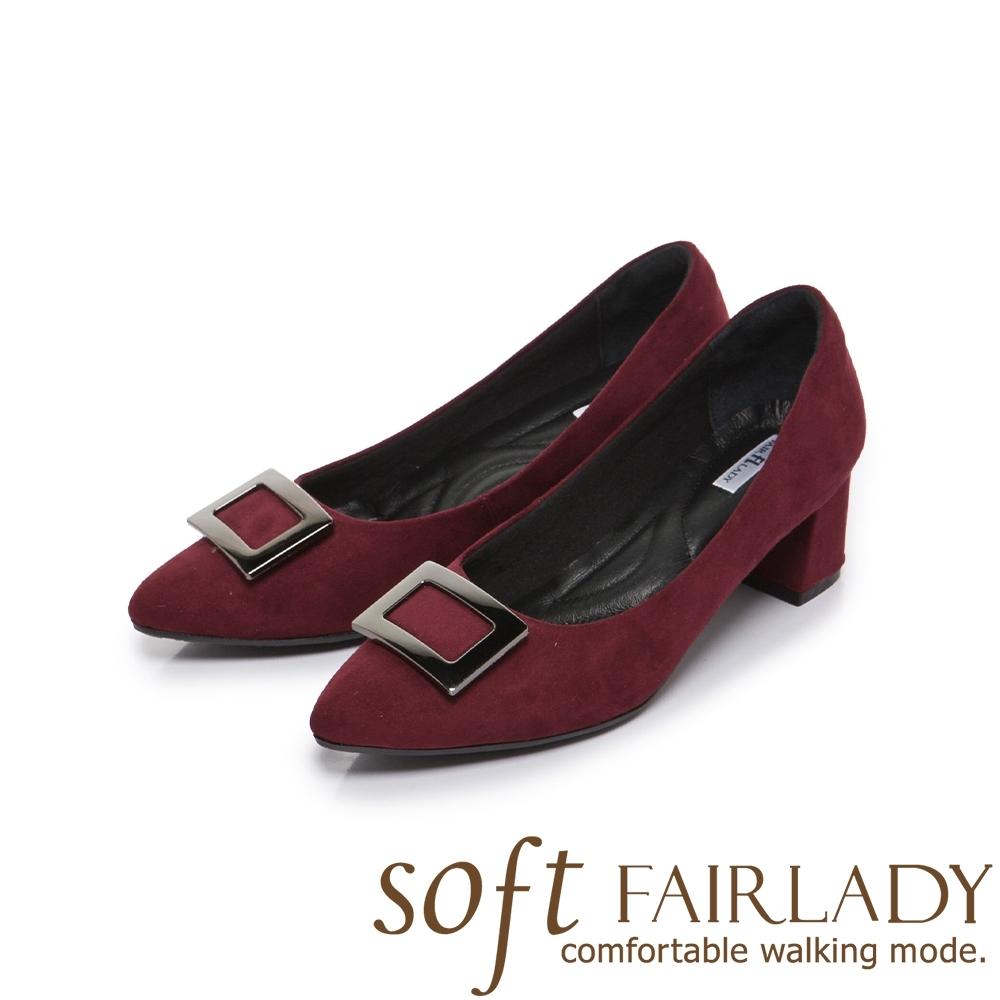 FAIR LADY Soft芯太軟 知性⽅框麂⽪尖頭高跟鞋 酒紅