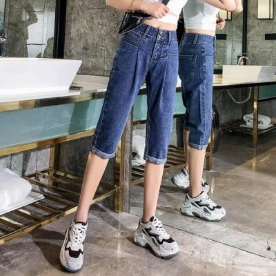 休閒高腰打褶顯瘦五分牛仔褲S-5XL-WHATDAY