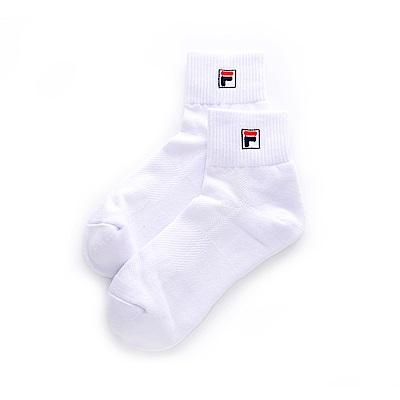 FILA 基本款半毛巾短襪-白 SCT-1001-WT