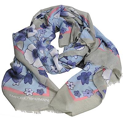 EMPORIO ARMANI 義大利製繽紛花朵牌圖騰LOGO造型圍巾(水藍/淡綠)