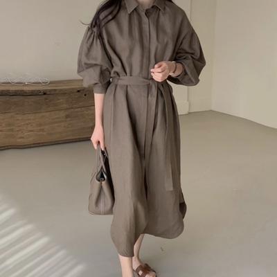 MOCO韓版休閒寬鬆長款過膝側開叉附綁帶棉麻襯衫式洋裝