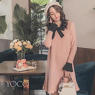 東京著衣-yoco 法國女孩撞色綁帶喇叭袖拼接洋裝-S.M.L(共一色)