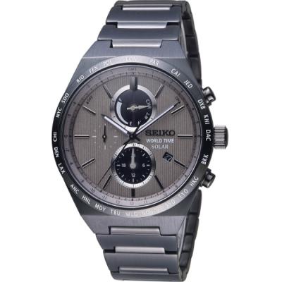 SEIKO SPIRIT 太陽能世界時間計時腕錶V195-0AE0N#SSC527J1