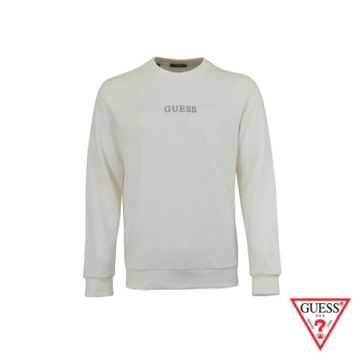 GUESS-男裝-簡約素面雙刺繡LOGO大學T-白 原價2990