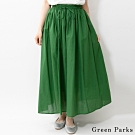 Green Parks 棉麻素面綁帶長裙