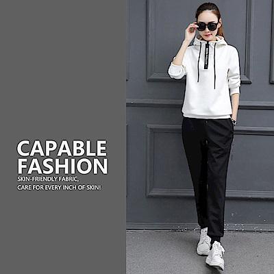 【KISSDIAMOND】韓版 3 D立體顯瘦連帽運動套裝白色