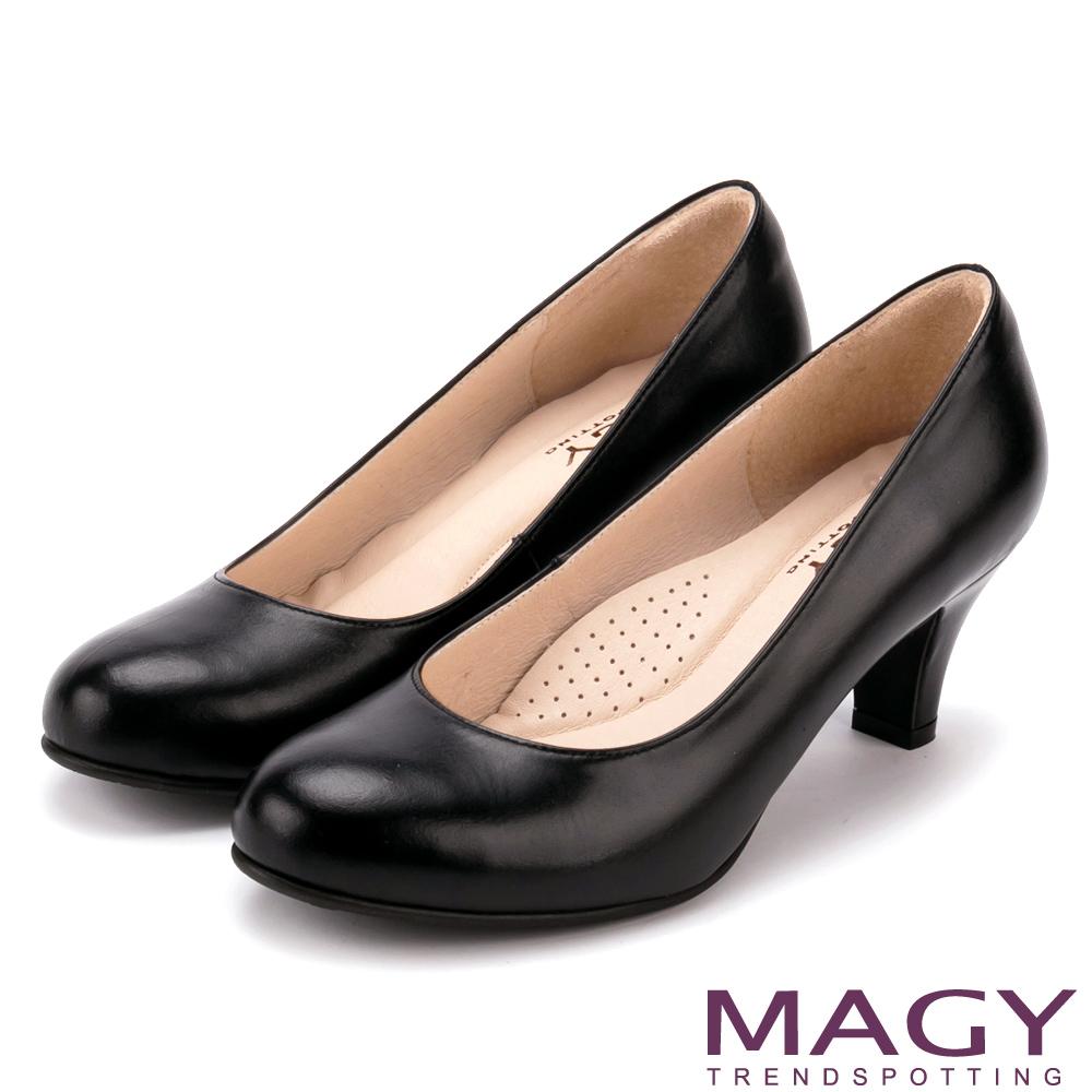 MAGY OL素面通勤真皮 女 高跟鞋 黑色