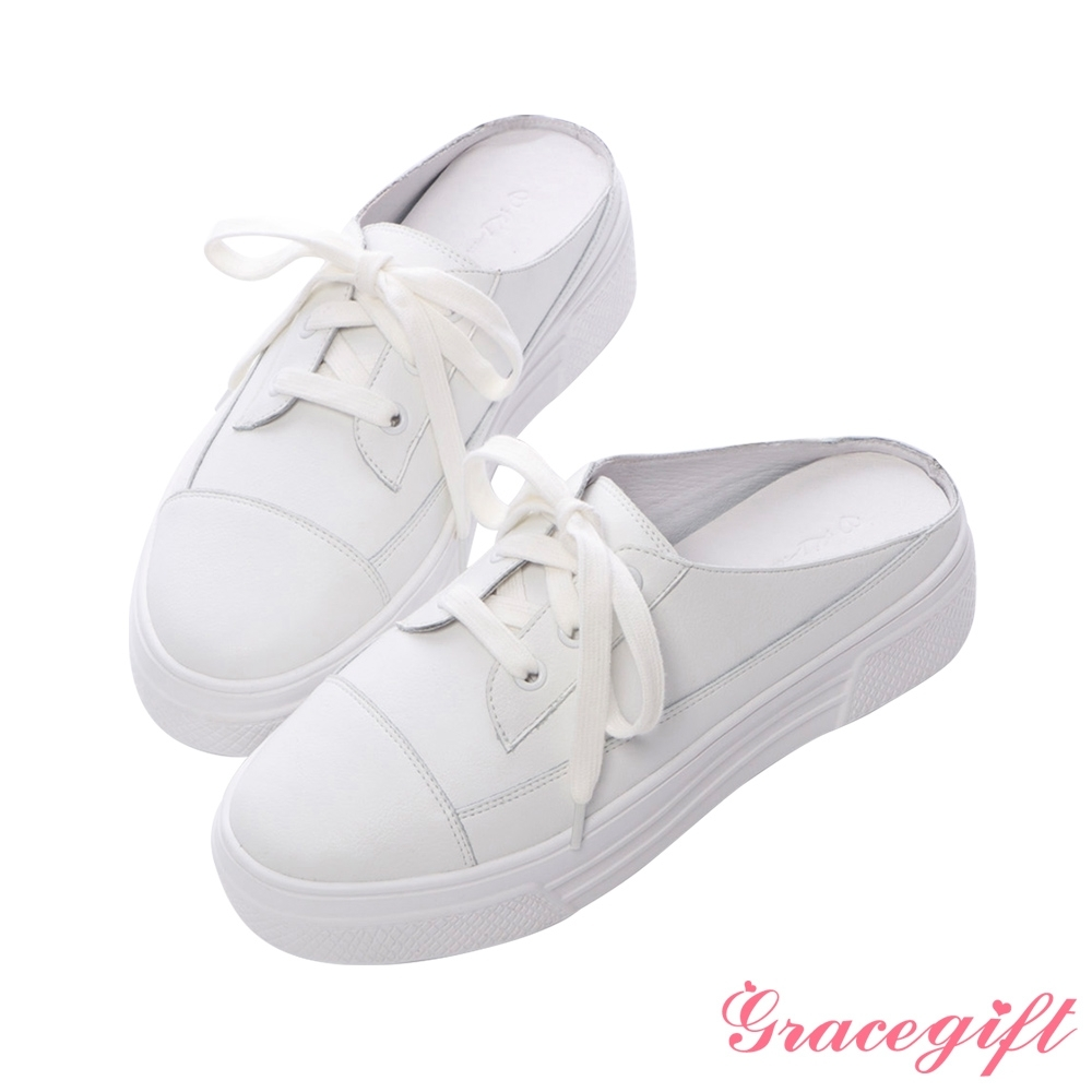 Grace gift X紀卜心-聯名全真皮厚底後空休閒鞋 白