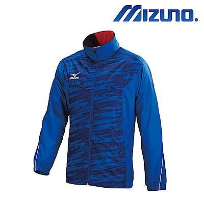 MIZUNO 美津濃 男風衣套裝上衣 法國藍X藍紋 32TE758722