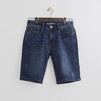 Hang Ten - 男裝 - 刷色修身牛仔短褲-水藍色