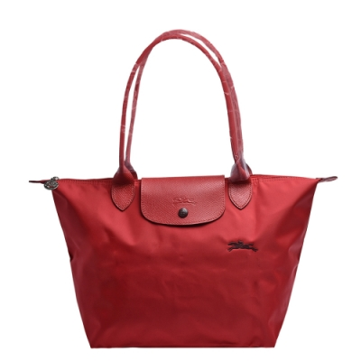 LONGCHAMP 經典LE PLIAGE系列刺繡摺疊長提把水餃手提包(小-紅色)