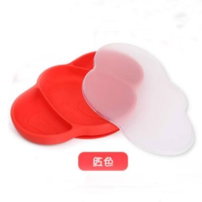 可愛象造型矽膠防滑餐盤-附蓋