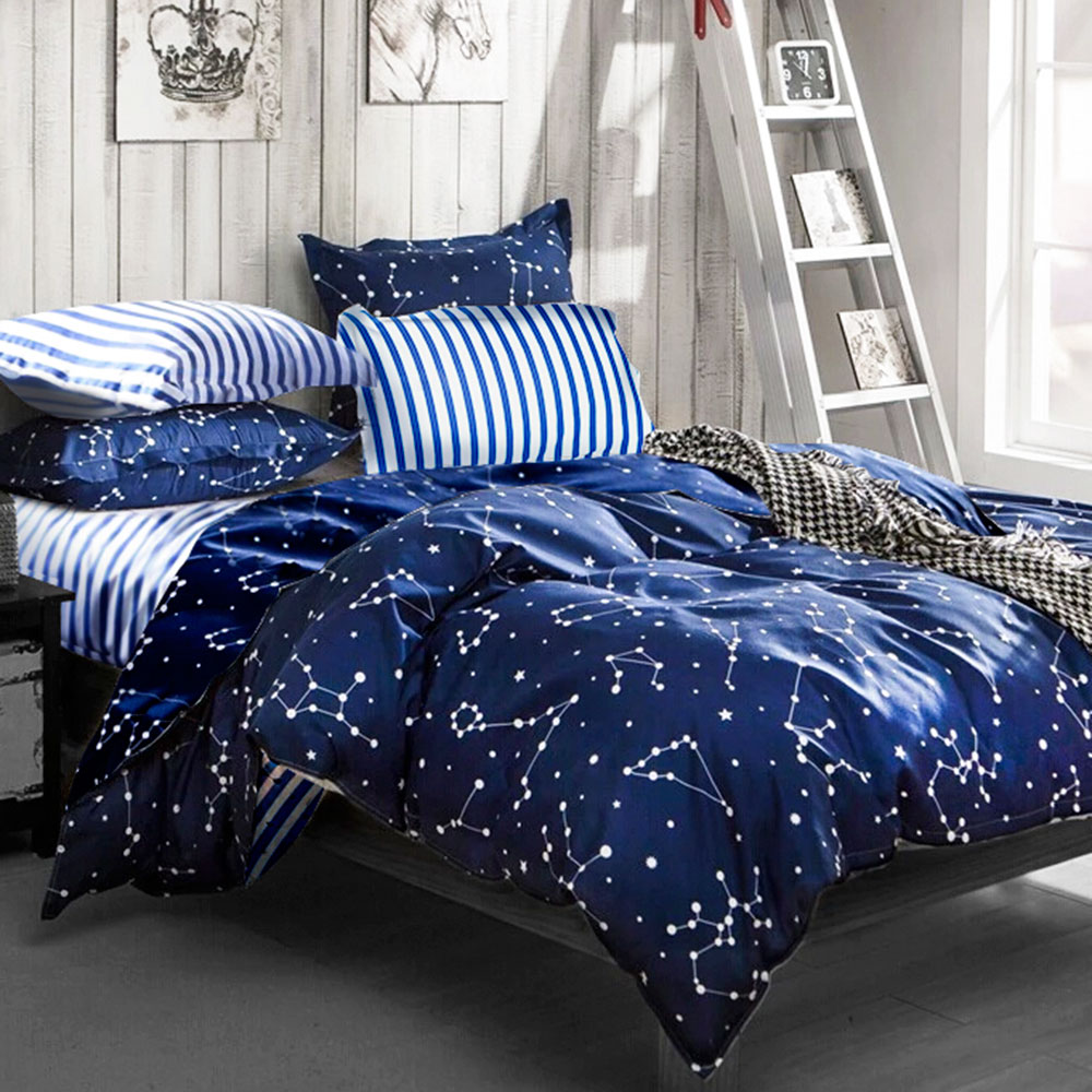 A-one雙人床包被套組四件式 流星雨 美肌磨毛 台灣製