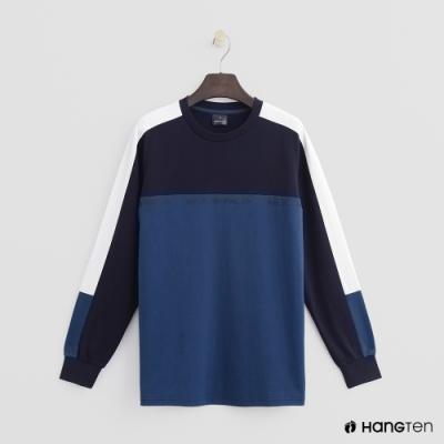 Hang Ten -童裝 - 色塊拼接長袖上衣 - 藍
