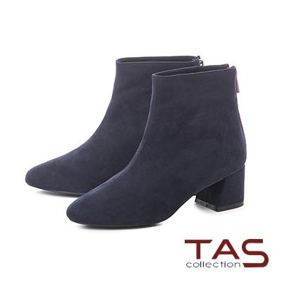 TAS素面絨布後拉鍊粗跟短靴-知性藍