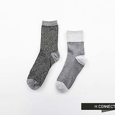 H:CONNECT 韓國品牌 -拼接混織長襪-灰
