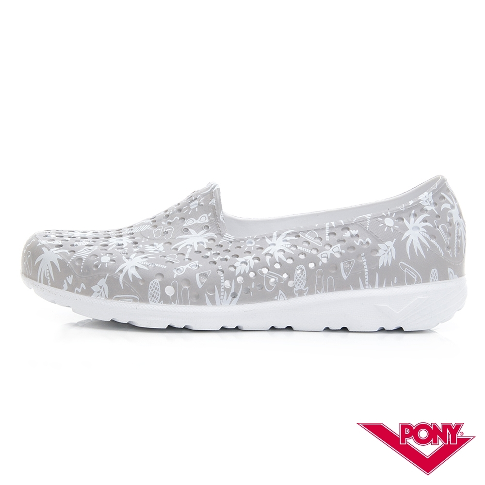 【PONY】TROPIC輕量透氣洞洞鞋 涼鞋 女鞋 夏日度假風印花/灰
