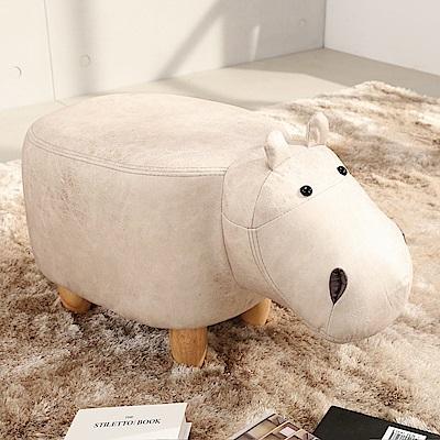 邏爵LOGIS 迷你象迷你河馬多用動物椅凳 實木四腳椅 可愛造形椅 穿鞋椅 矮凳