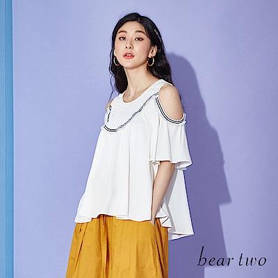 beartwo 挖肩造型荷葉條紋上衣(二色)