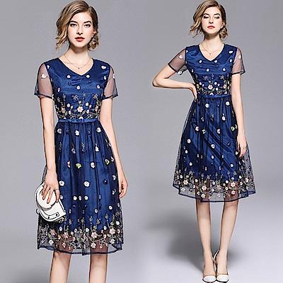 迷人深藍網紗刺繡連身洋裝S-2XL-M2M