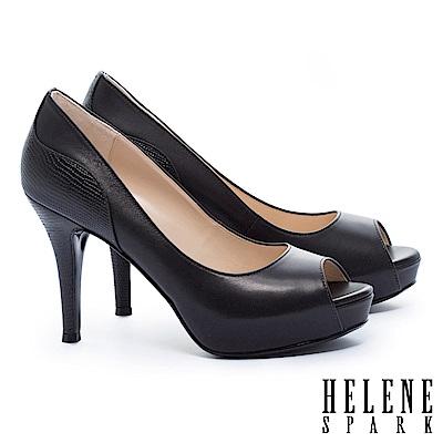 高跟鞋 HELENE SPARK 都市時尚剪裁拼接魚口美型高跟鞋-黑
