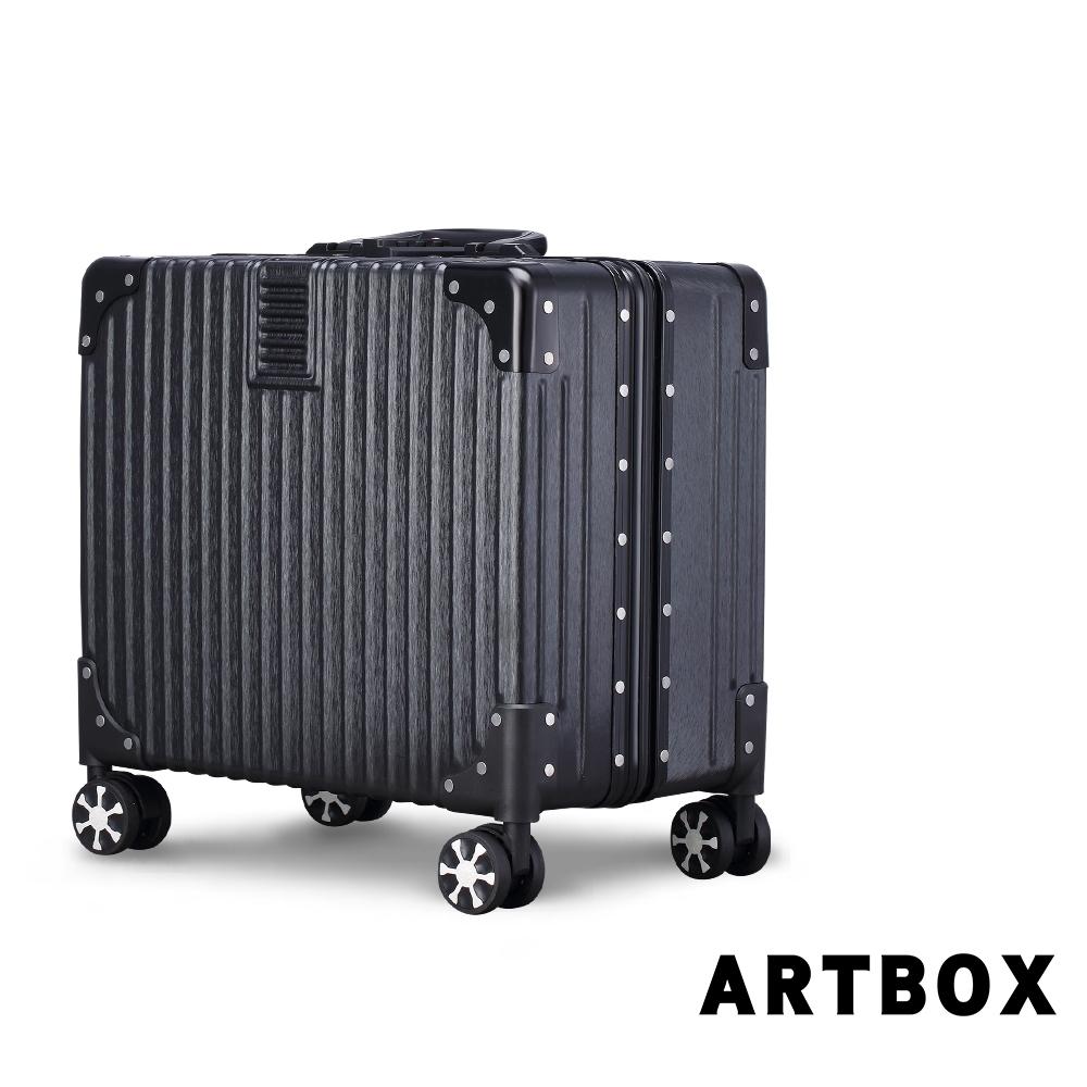 【ARTBOX】英倫復古17吋 創新線條海關鎖鋁框商務箱(經典黑)