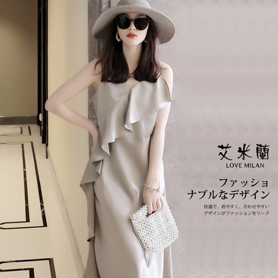 艾米蘭-韓版修身顯瘦時尚波浪邊V領造型洋裝-香檳色(M-XL)