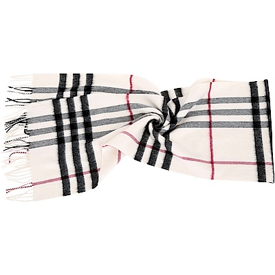 BURBERRY 100%喀什米爾白色經典格紋圍巾