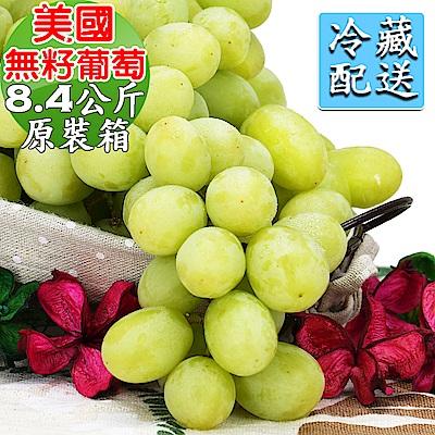 愛蜜果 美國加州綠無籽葡萄原裝箱~約8.4公斤/箱(冷藏配送)