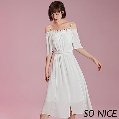 SO NICE氣質露肩花邊雪紡洋裝
