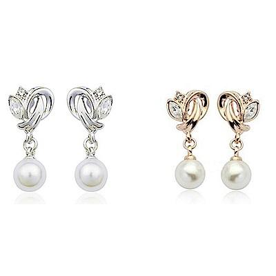 iSFairytale伊飾童話纏綿晶鑽 垂墜珍珠鍍金耳環 2色可選