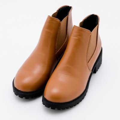 River&Moon大尺碼短靴 素面側鬆緊粗跟短靴 黃棕