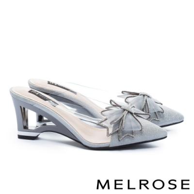 拖鞋 MELROSE 氣質時尚異材質拼接晶鑽蝴蝶結尖頭高跟穆勒拖鞋-灰