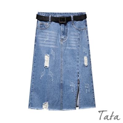 刷破抽鬚開衩牛仔裙 TATA-(S~XL)