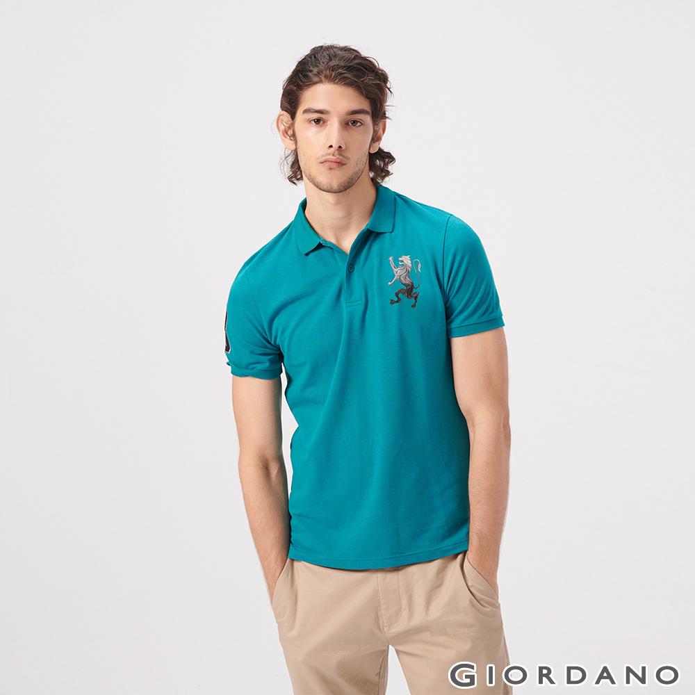 GIORDANO 男裝勝利獅王漸層刺繡彈力萊卡POLO衫-44 雪花咬娟綠