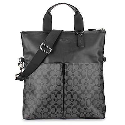 COACH 經典滿版LOGO PVC拼接皮革手提/側背二用男款托特包-黑灰色