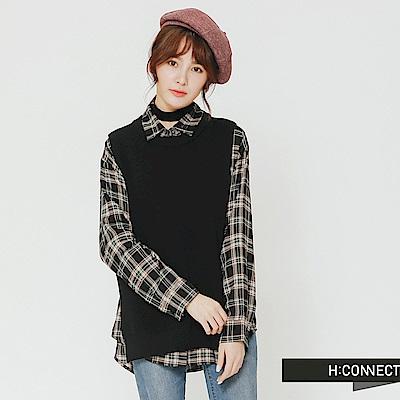 H:CONNECT 韓國品牌 女裝-側開岔圓領針織背心-黑