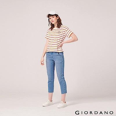 GIORDANO 女裝刷色中腰直筒九分牛仔褲-77 淺藍