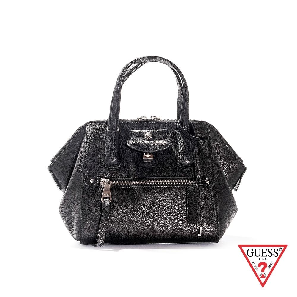 GUESS-女包-LUXE簡約都會皮革手提肩背包-黑 原價7290