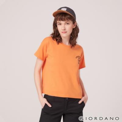 GIORDANO 女裝復古風格印花短袖寬版T恤-22 粉末橙