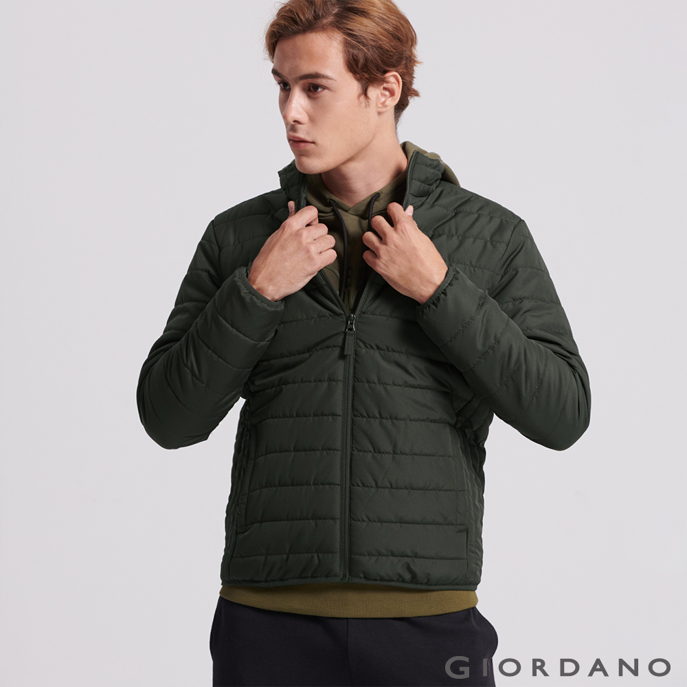GIORDANO 男裝輕量立領防寒鋪棉外套-59 炭綠
