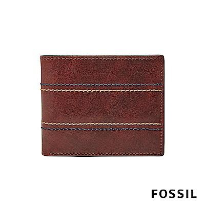 FOSSIL REESE 真皮帶翻轉證件格RFID男夾-棕色