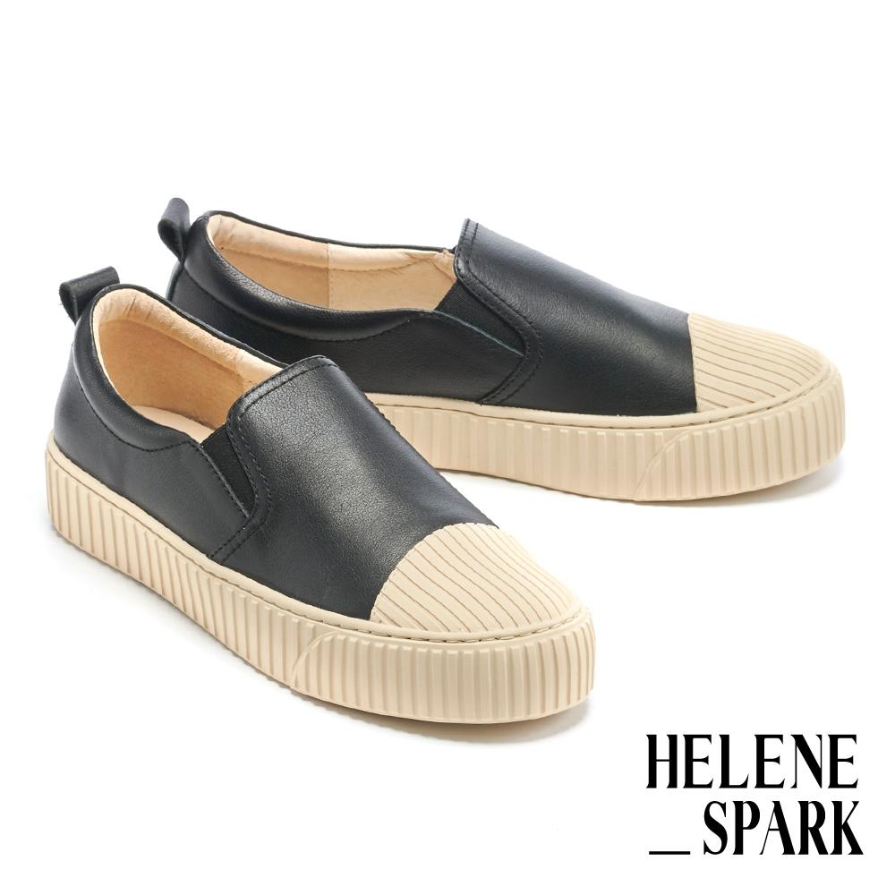 休閒鞋 HELENE SPARK 簡約率性全真皮線感厚底休閒鞋-黑