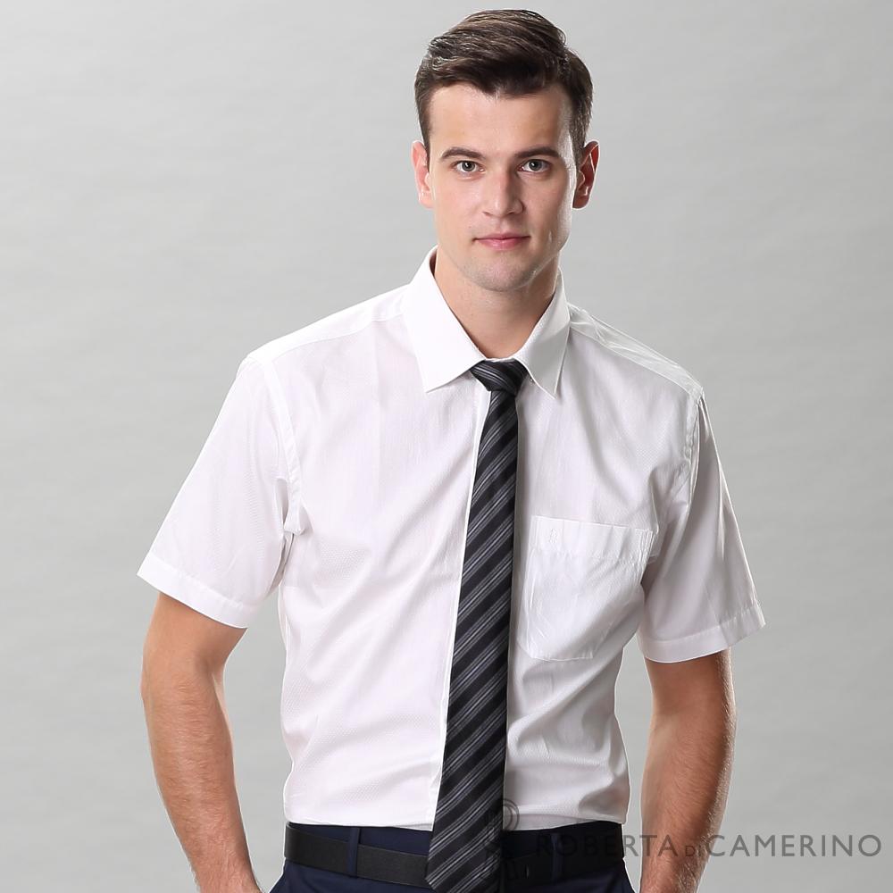 ROBERTA諾貝達 進口素材 台灣製 合身版 純棉個性點點短袖襯衫 白色