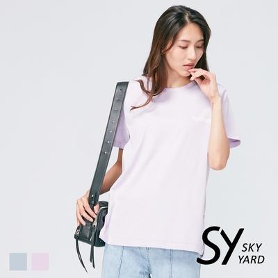 【SKY YARD 天空花園】下擺開岔寬鬆版標語印圖造型上衣-紫色