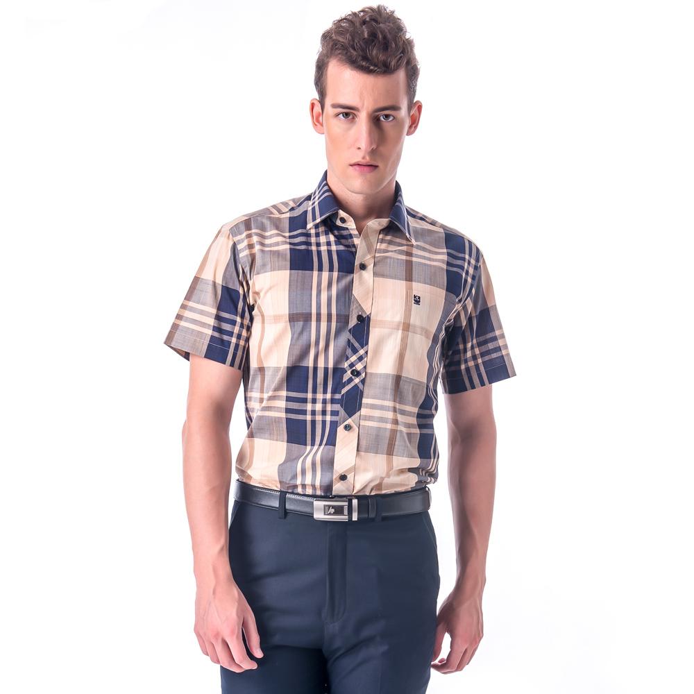 金‧安德森 經典特大格窄版短袖襯衫