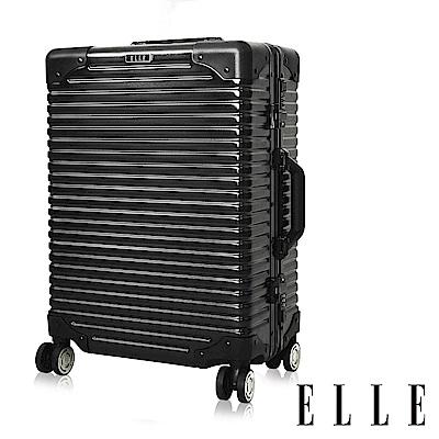 福利品 ELLE 復古假期系列- 24吋霧面裸鑽橫條紋鋁框行李箱-岩墨黑