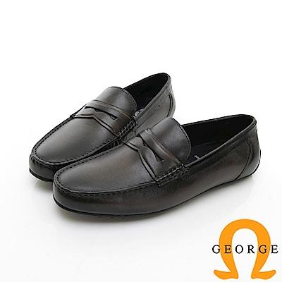 【GEORGE 喬治皮鞋】Amber 都會時尚 簡約直套式紳士皮鞋-灰色
